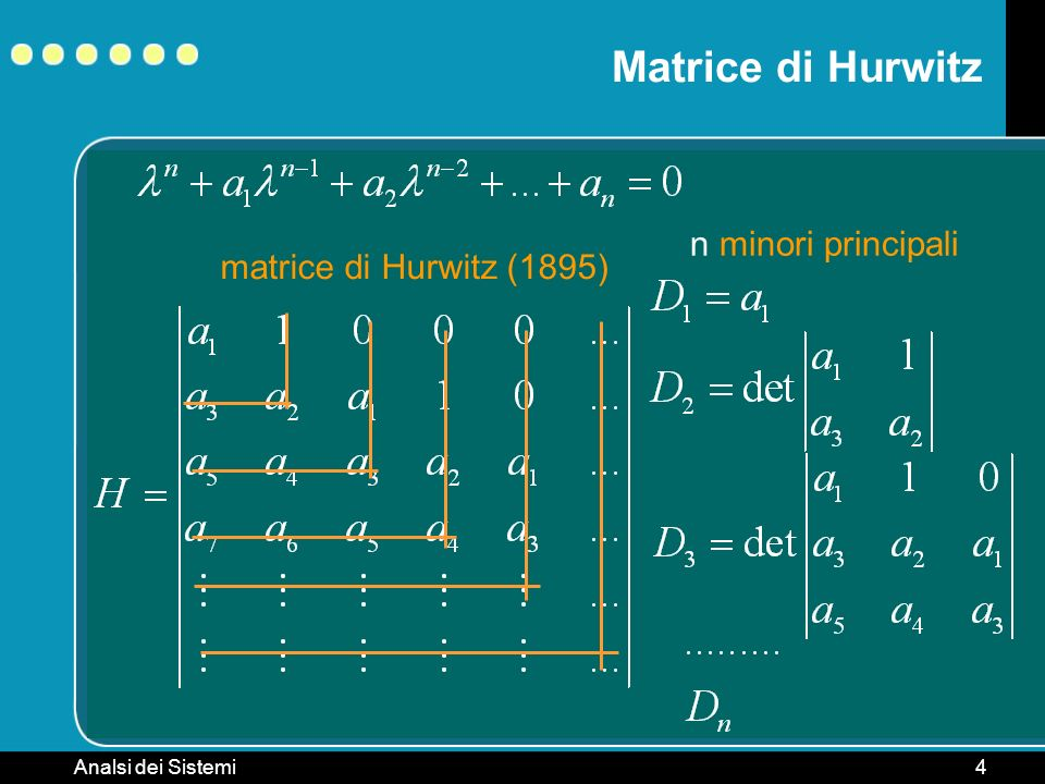 Analsi dei Sistemi5 Criterio di Hurwitz Dato un sistema è asintoticamente stabile se e solo se gli n minori principali della matrice di Hurwitz associata al polinomio caratteristico della matrice A sono tutti positivi