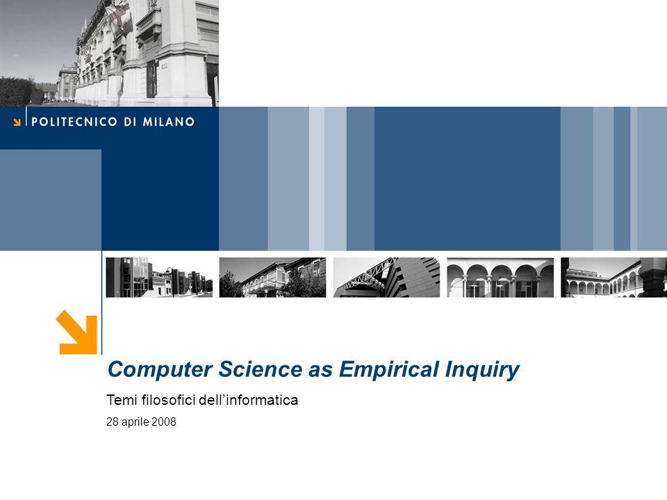 Temi filosofici dellinformatica 2 Computer Science as Empirical Inquiry: Symbols and Search (1976) Herbert Simon Allen Newell
