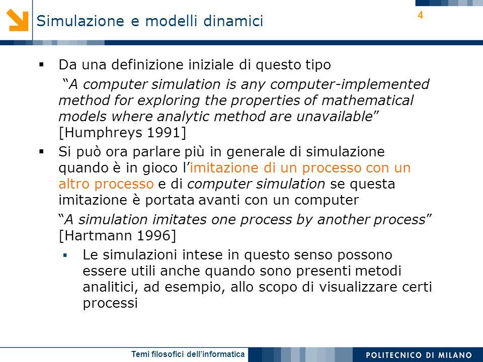 Temi filosofici dellinformatica 4 Da una definizione iniziale di questo tipo A computer simulation is any computer-implemented method for exploring th