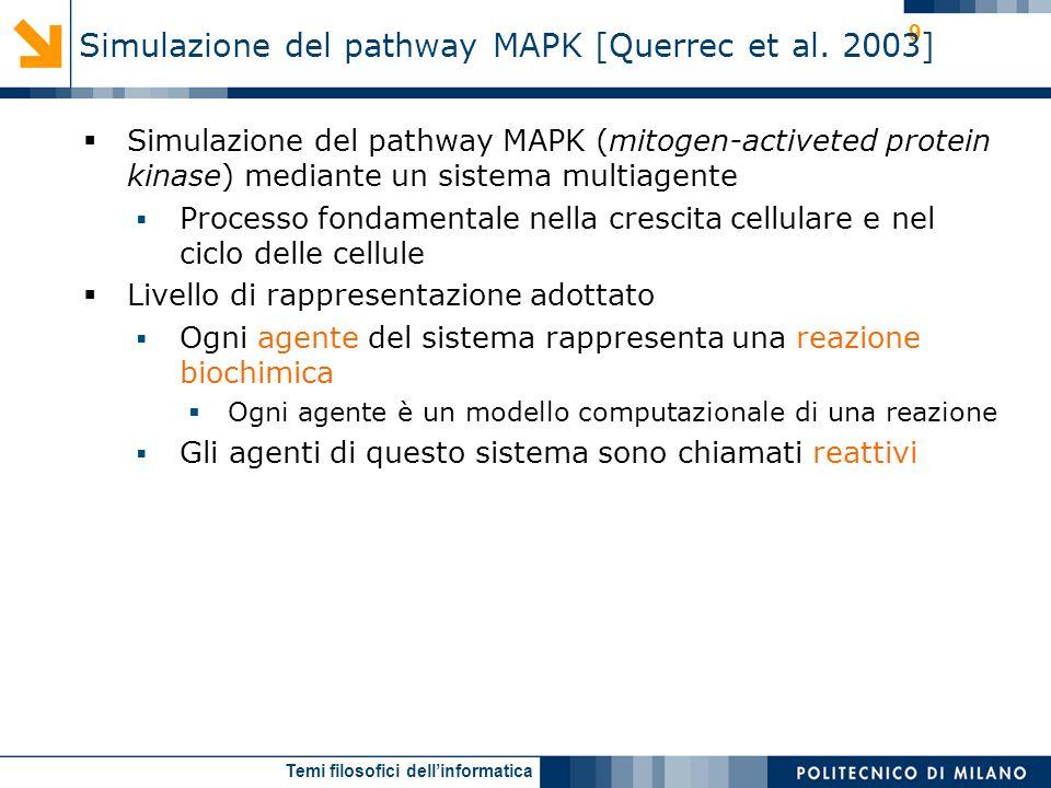 Temi filosofici dellinformatica 9 Simulazione del pathway MAPK (mitogen-activeted protein kinase) mediante un sistema multiagente Processo fondamental