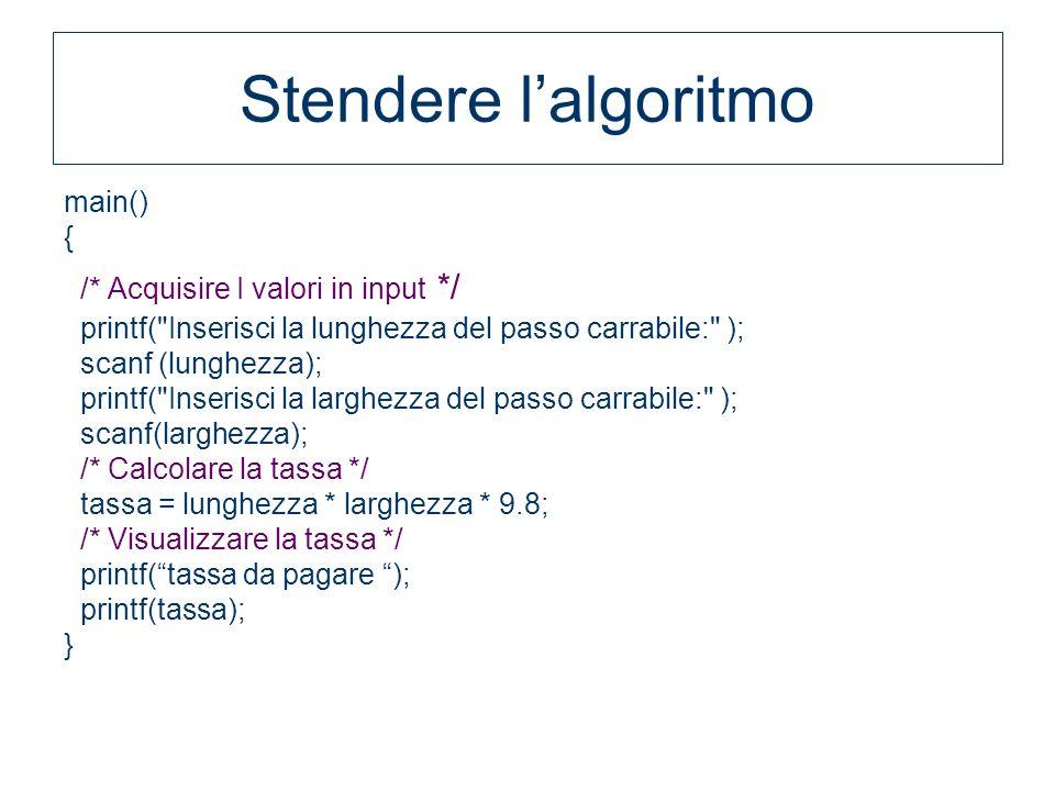 Stendere lalgoritmo main() { /* Acquisire I valori in input */ printf(
