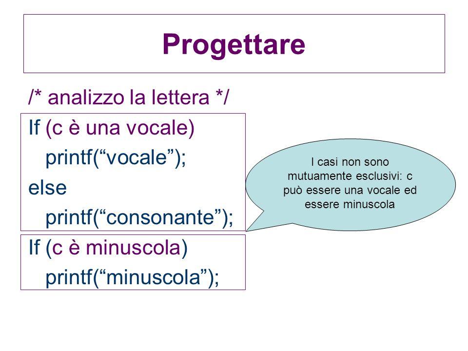 /* analizzo la lettera */ If (c è una vocale) printf(vocale); else printf(consonante); If (c è minuscola) printf(minuscola); Progettare I casi non son