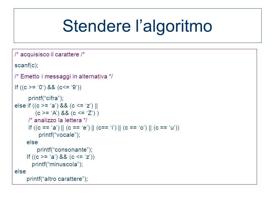 /* acquisisco il carattere /* scanf(c); /* Emetto i messaggi in alternativa */ If ((c >= 0) && (c<= 9)) printf(cifra); else if ((c >= a) && (c <= z) |