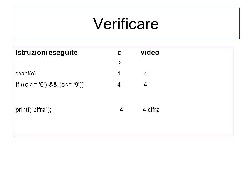 Istruzioni eseguite c video ? scanf(c) 4 4 If ((c >= 0) && (c<= 9)) 4 4 printf(cifra); 4 4 cifra Verificare
