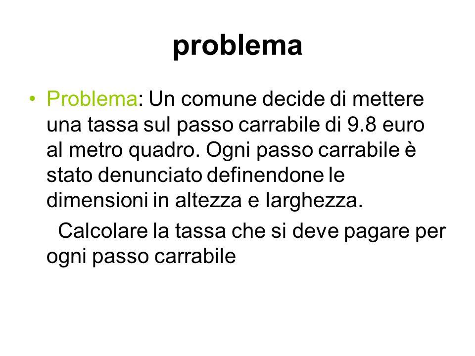problema Problema: Un comune decide di mettere una tassa sul passo carrabile di 9.8 euro al metro quadro. Ogni passo carrabile è stato denunciato defi