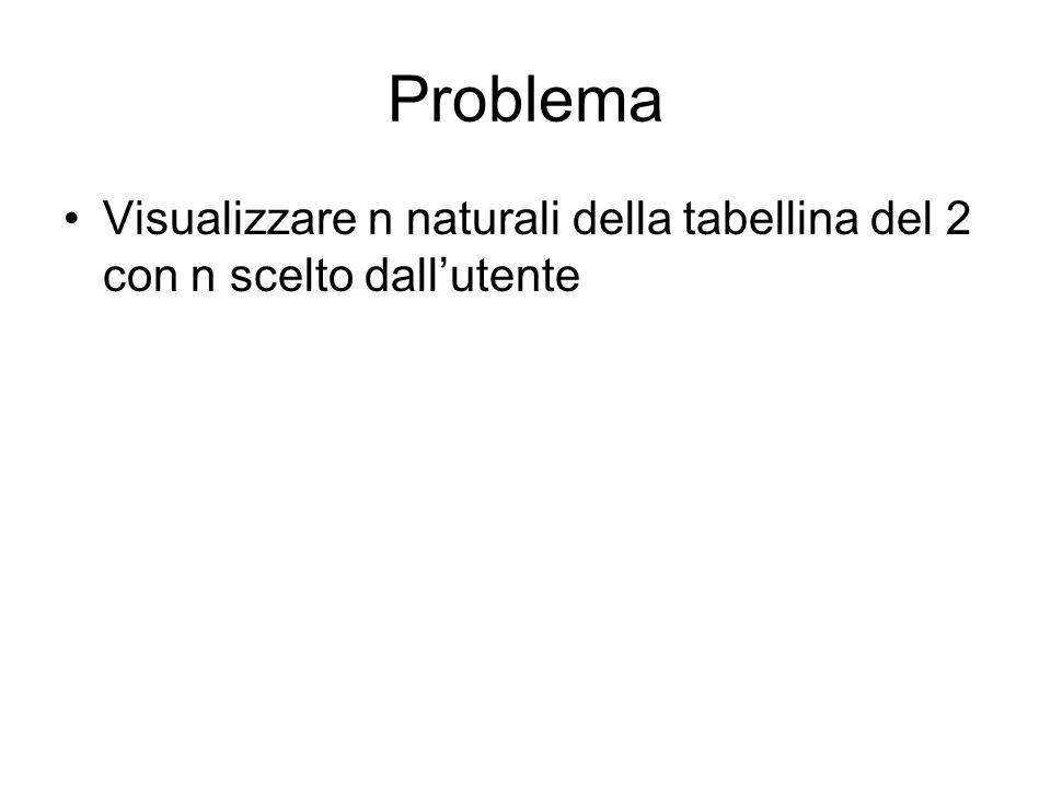 Problema Visualizzare n naturali della tabellina del 2 con n scelto dallutente