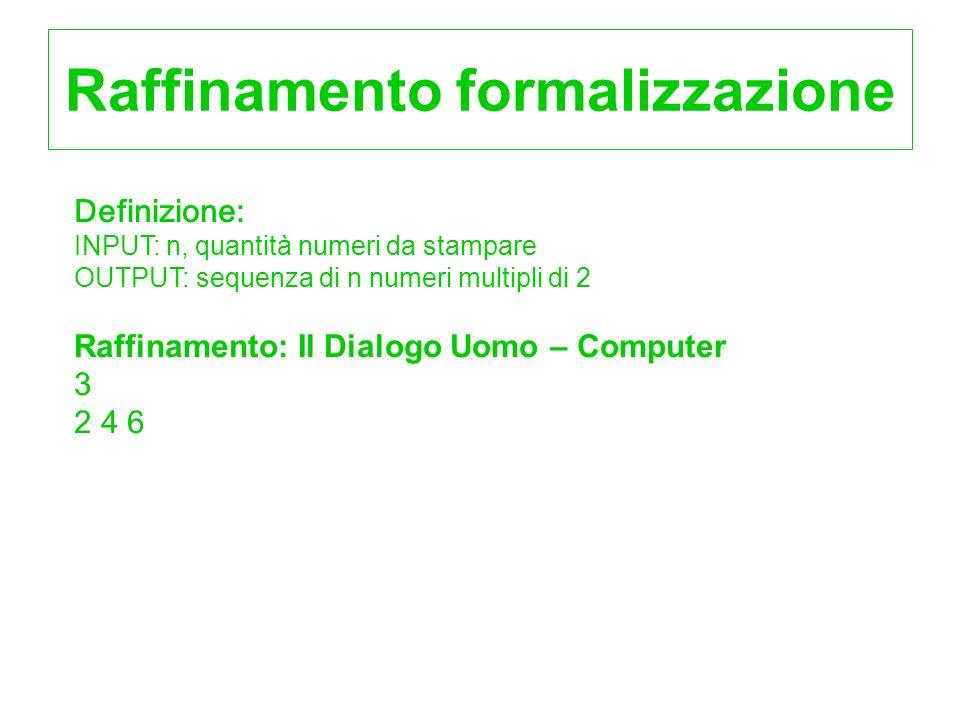 Raffinamento formalizzazione Definizione: INPUT: n, quantità numeri da stampare OUTPUT: sequenza di n numeri multipli di 2 Raffinamento: Il Dialogo Uo