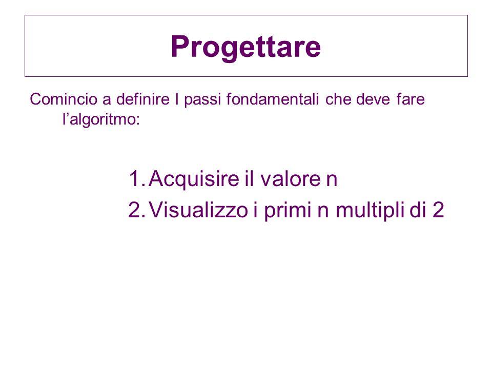 Progettare Comincio a definire I passi fondamentali che deve fare lalgoritmo: 1.Acquisire il valore n 2.Visualizzo i primi n multipli di 2