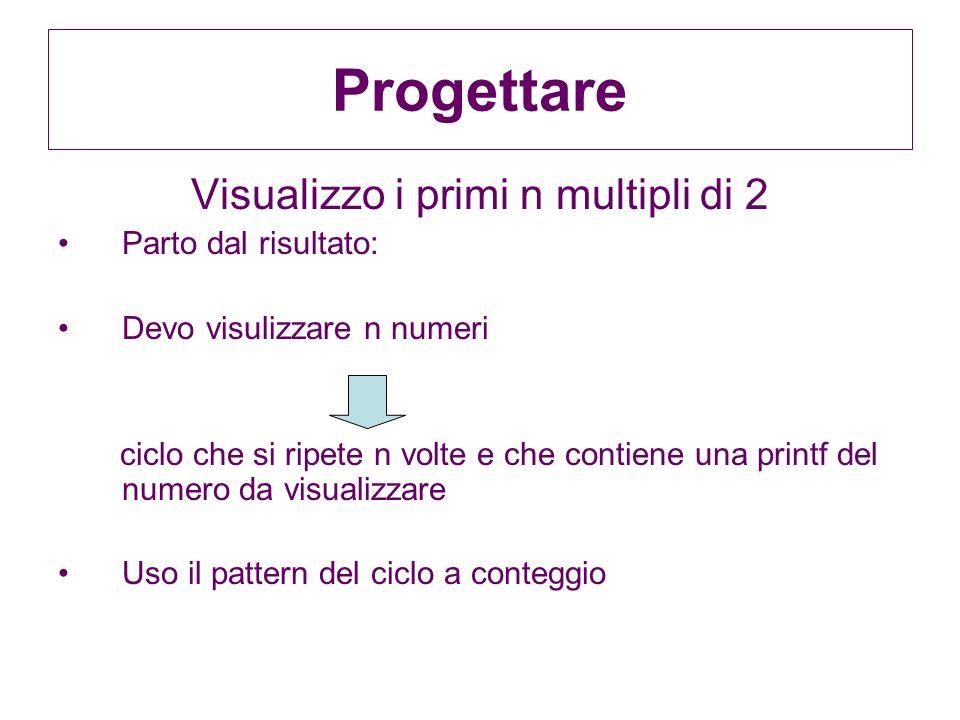 Progettare Visualizzo i primi n multipli di 2 Parto dal risultato: Devo visulizzare n numeri ciclo che si ripete n volte e che contiene una printf del