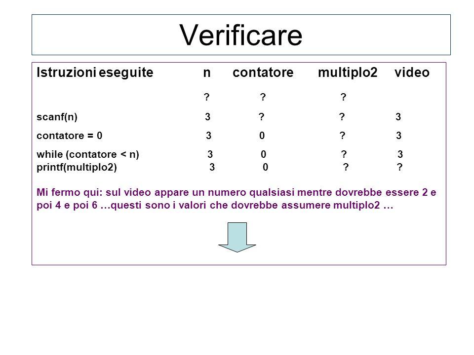 Istruzioni eseguite n contatore multiplo2 video ? ? ? scanf(n) 3 ? ? 3 contatore = 0 3 0 ? 3 while (contatore < n) 3 0 ? 3 printf(multiplo2) 3 0 ? ? M