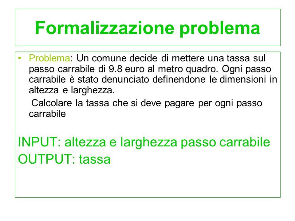 Formalizzazione problema Problema: Un comune decide di mettere una tassa sul passo carrabile di 9.8 euro al metro quadro. Ogni passo carrabile è stato