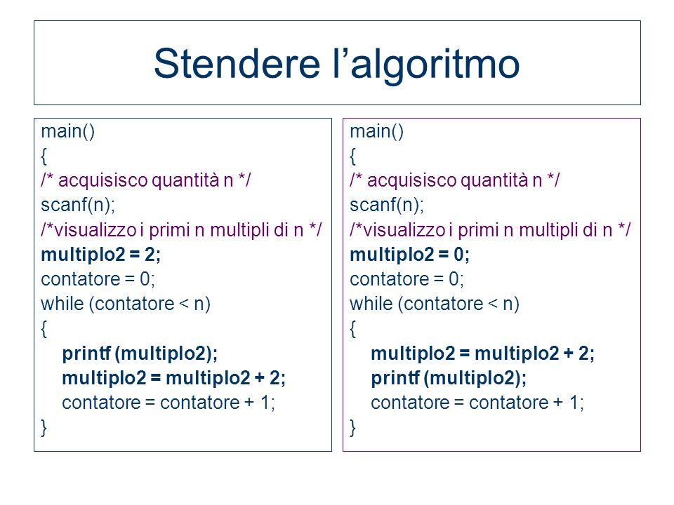 Stendere lalgoritmo main() { /* acquisisco quantità n */ scanf(n); /*visualizzo i primi n multipli di n */ multiplo2 = 2; contatore = 0; while (contat