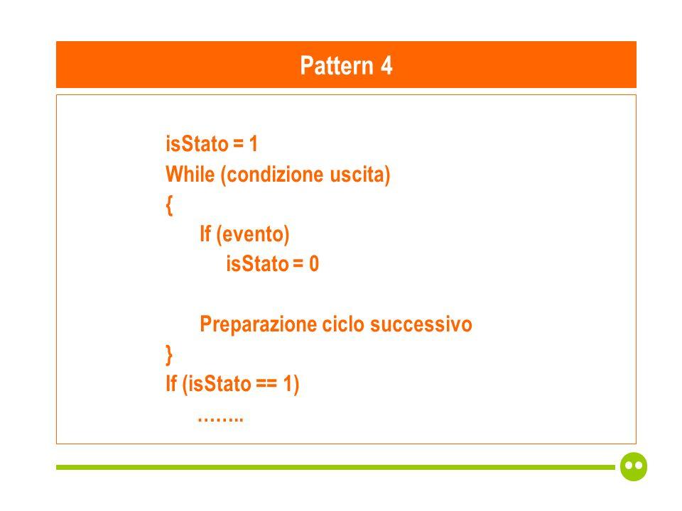 isStato = 1 While (condizione uscita) { If (evento) isStato = 0 Preparazione ciclo successivo } If (isStato == 1) ……..