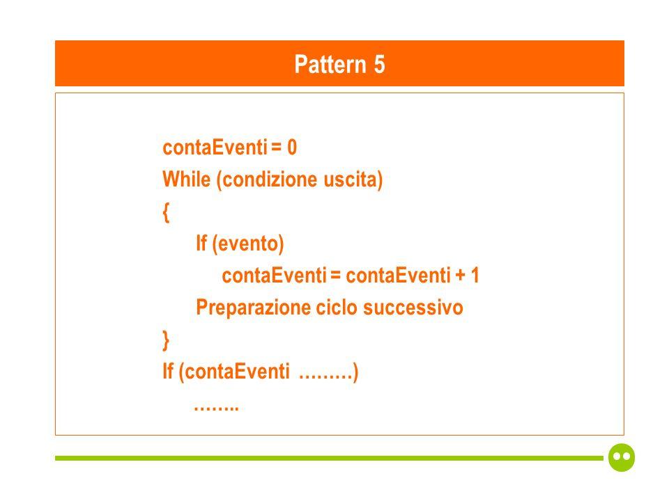 contaEventi = 0 While (condizione uscita) { If (evento) contaEventi = contaEventi + 1 Preparazione ciclo successivo } If (contaEventi ………) ……..
