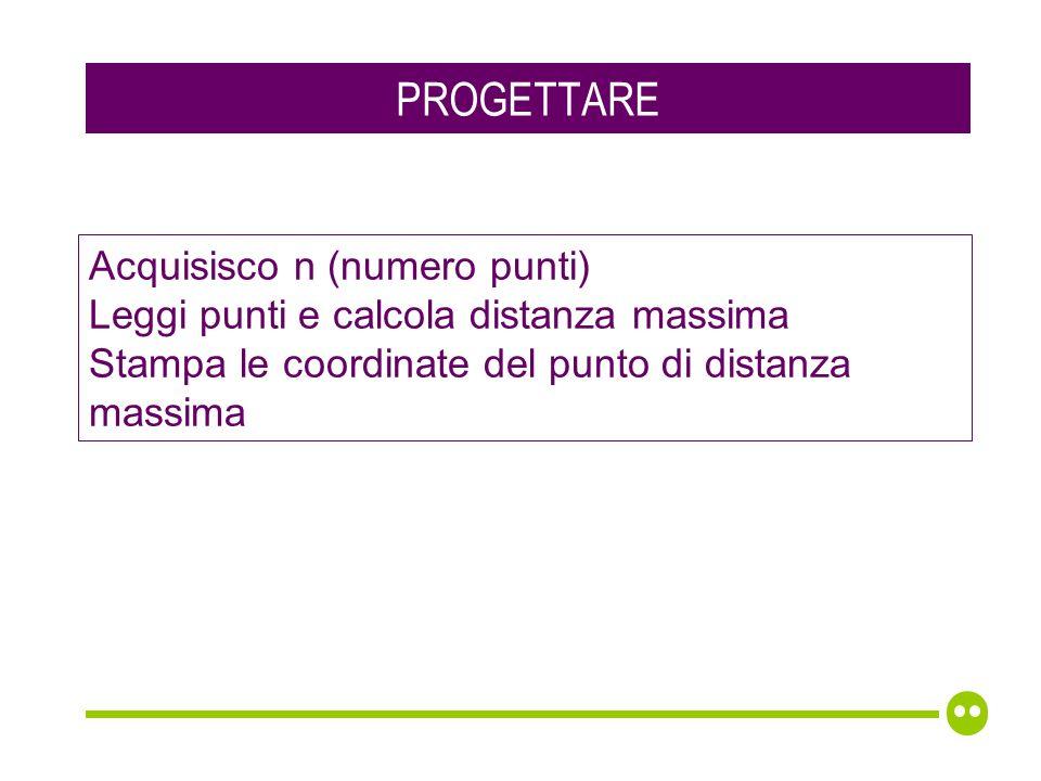 PROGETTARE Acquisisco n (numero punti) Leggi punti e calcola distanza massima Stampa le coordinate del punto di distanza massima