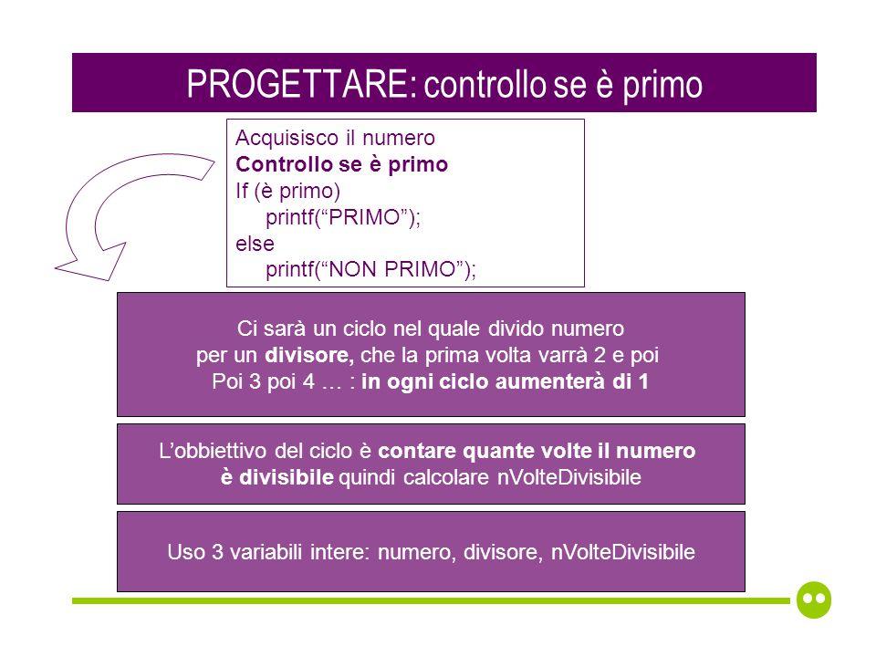 PROGETTARE: controllo se è primo Ci sarà un ciclo nel quale divido numero per un divisore, che la prima volta varrà 2 e poi Poi 3 poi 4 … : in ogni ciclo aumenterà di 1 Lobbiettivo del ciclo è contare quante volte il numero è divisibile quindi calcolare nVolteDivisibile Acquisisco il numero Controllo se è primo If (è primo) printf(PRIMO); else printf(NON PRIMO); Uso 3 variabili intere: numero, divisore, nVolteDivisibile
