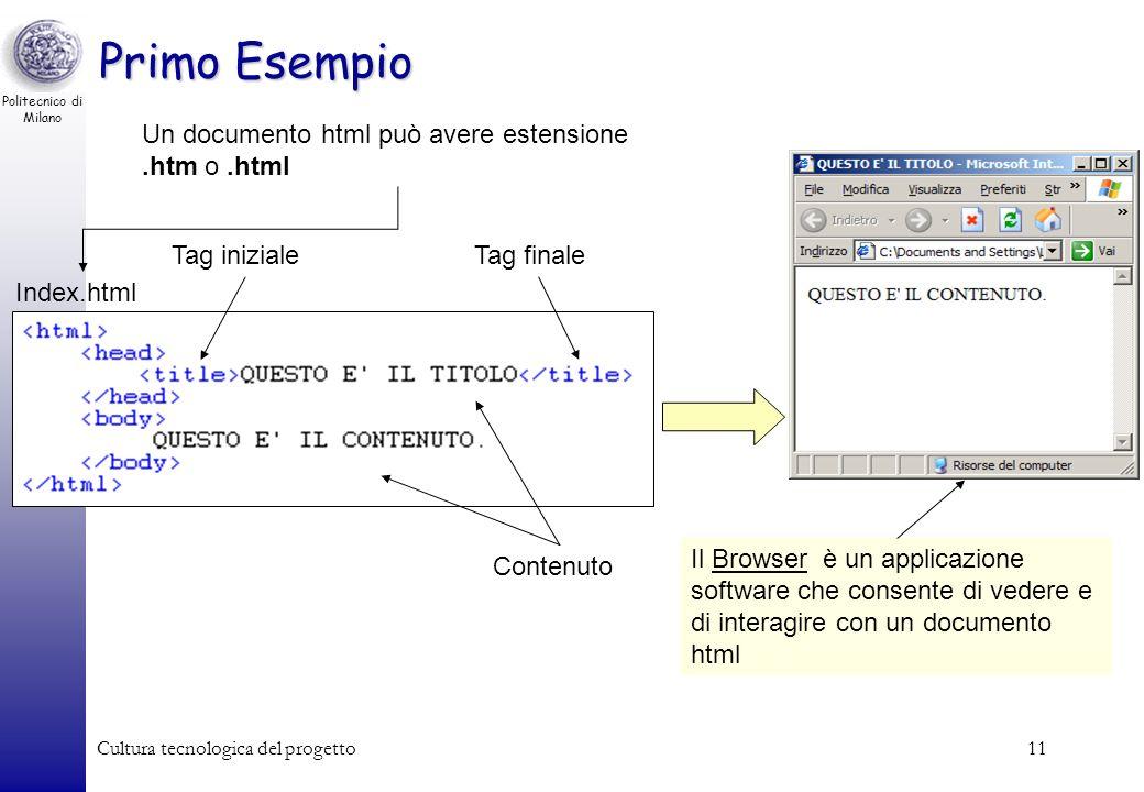 Politecnico di Milano Cultura tecnologica del progetto11 Primo Esempio Index.html Un documento html può avere estensione.htm o.html Contenuto Tag iniz