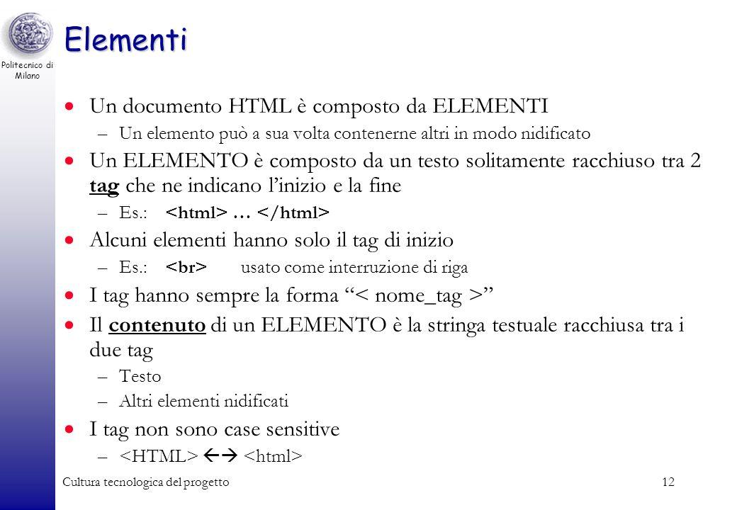 Politecnico di Milano Cultura tecnologica del progetto12 Elementi Un documento HTML è composto da ELEMENTI –Un elemento può a sua volta contenerne alt