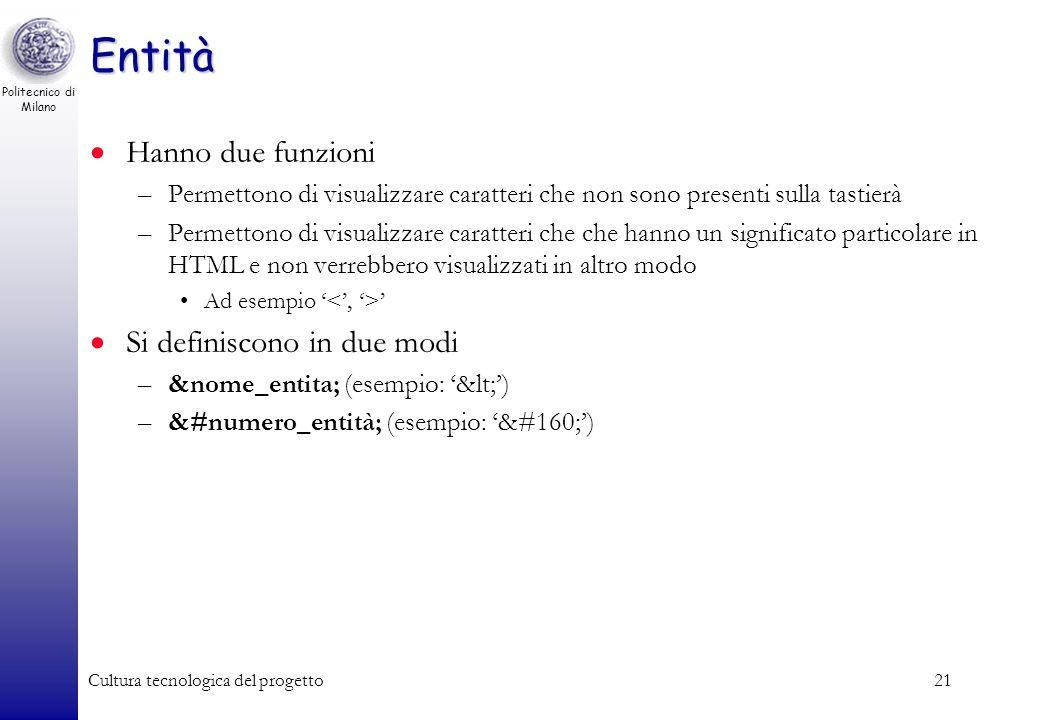 Politecnico di Milano Cultura tecnologica del progetto21 Entità Hanno due funzioni –Permettono di visualizzare caratteri che non sono presenti sulla t