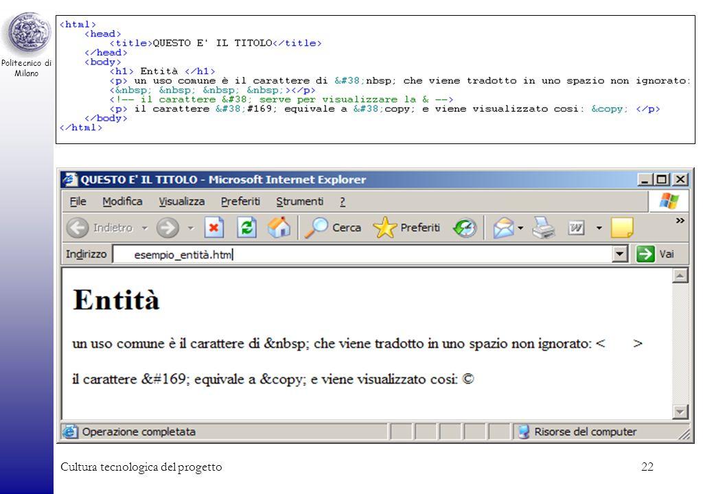 Politecnico di Milano Cultura tecnologica del progetto22