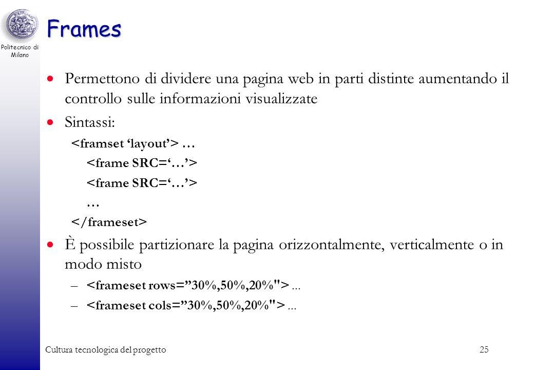 Politecnico di Milano Cultura tecnologica del progetto25 Frames Permettono di dividere una pagina web in parti distinte aumentando il controllo sulle