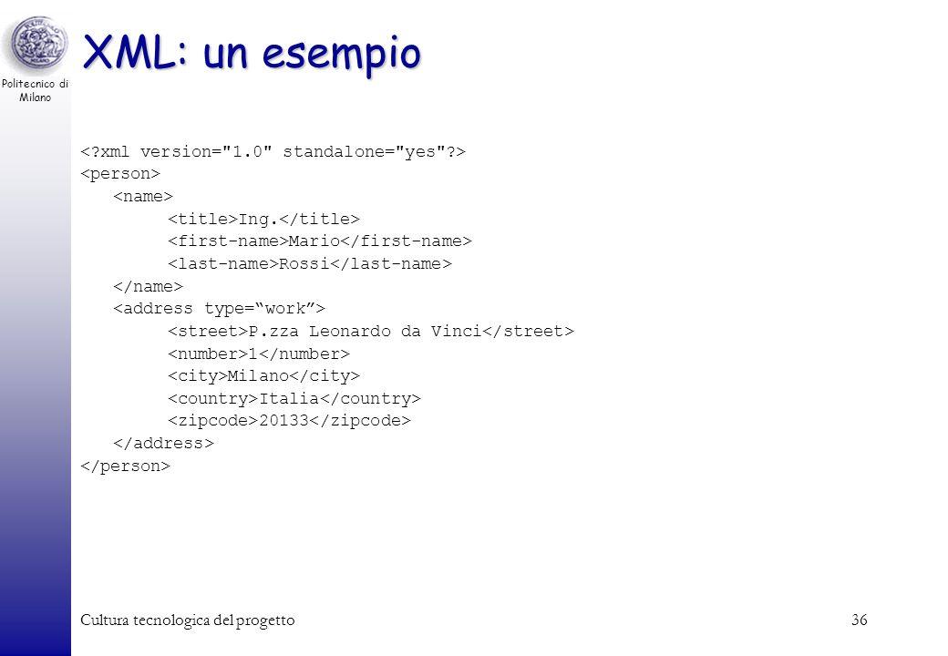 Politecnico di Milano Cultura tecnologica del progetto36 XML: un esempio Ing. Mario Rossi P.zza Leonardo da Vinci 1 Milano Italia 20133