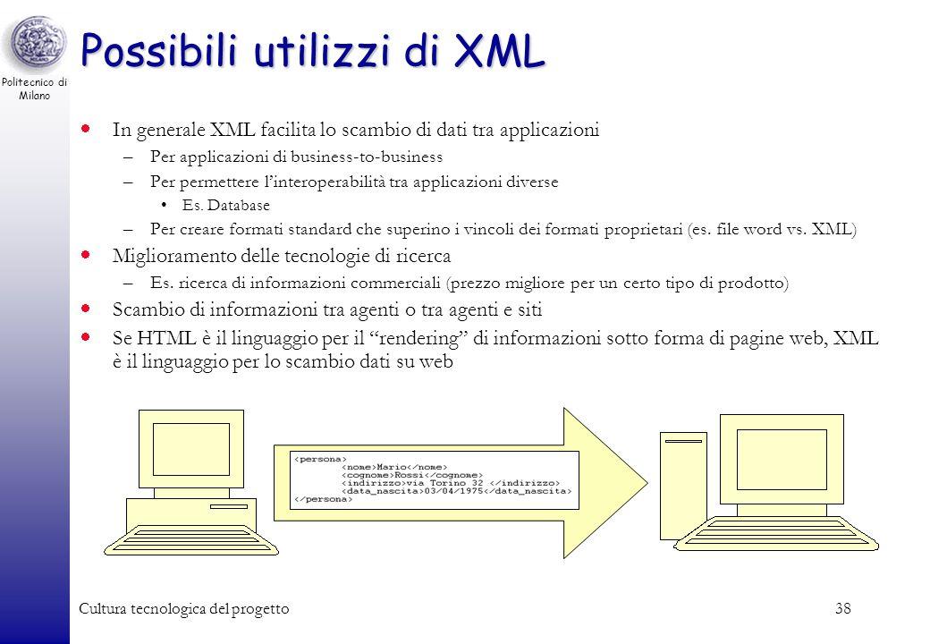 Politecnico di Milano Cultura tecnologica del progetto38 Possibili utilizzi di XML In generale XML facilita lo scambio di dati tra applicazioni –Per a
