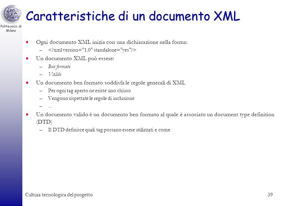 Politecnico di Milano Cultura tecnologica del progetto39 Caratteristiche di un documento XML Ogni documento XML inizia con una dichiarazione nella for