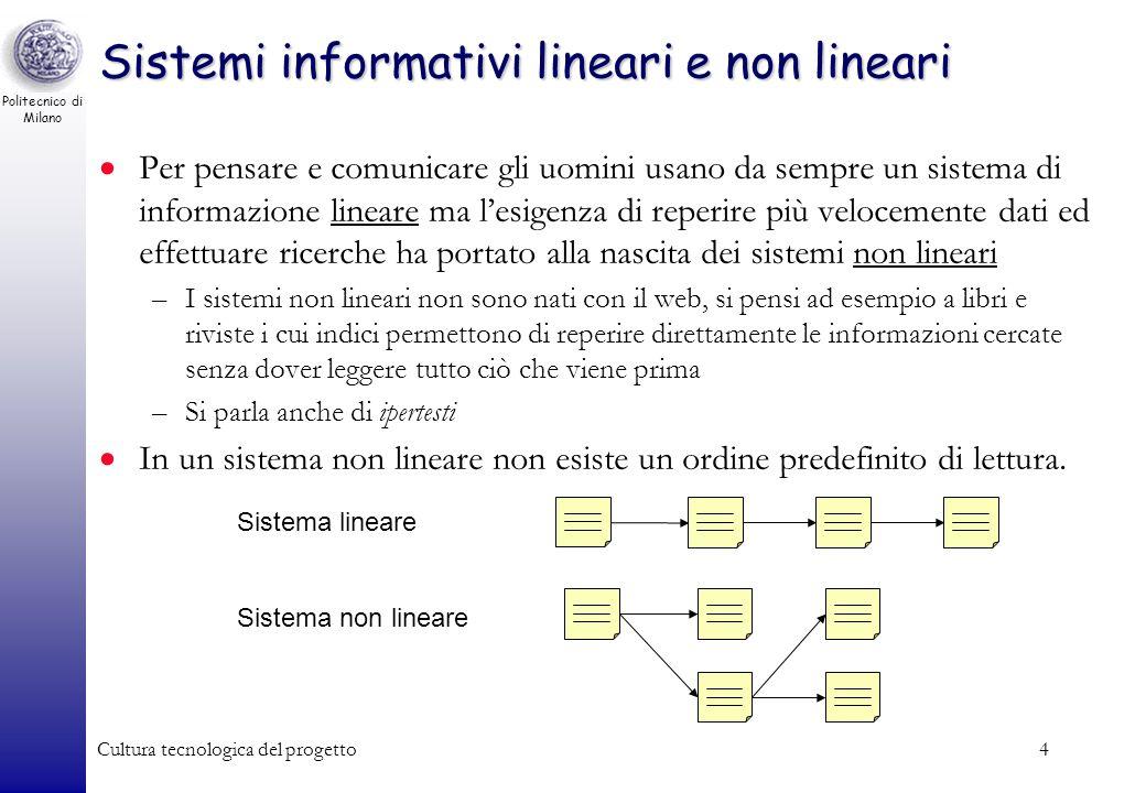 Politecnico di Milano Cultura tecnologica del progetto4 Sistemi informativi lineari e non lineari Per pensare e comunicare gli uomini usano da sempre