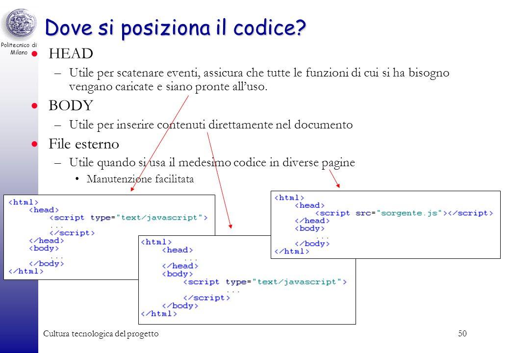 Politecnico di Milano Cultura tecnologica del progetto50 Dove si posiziona il codice? HEAD –Utile per scatenare eventi, assicura che tutte le funzioni