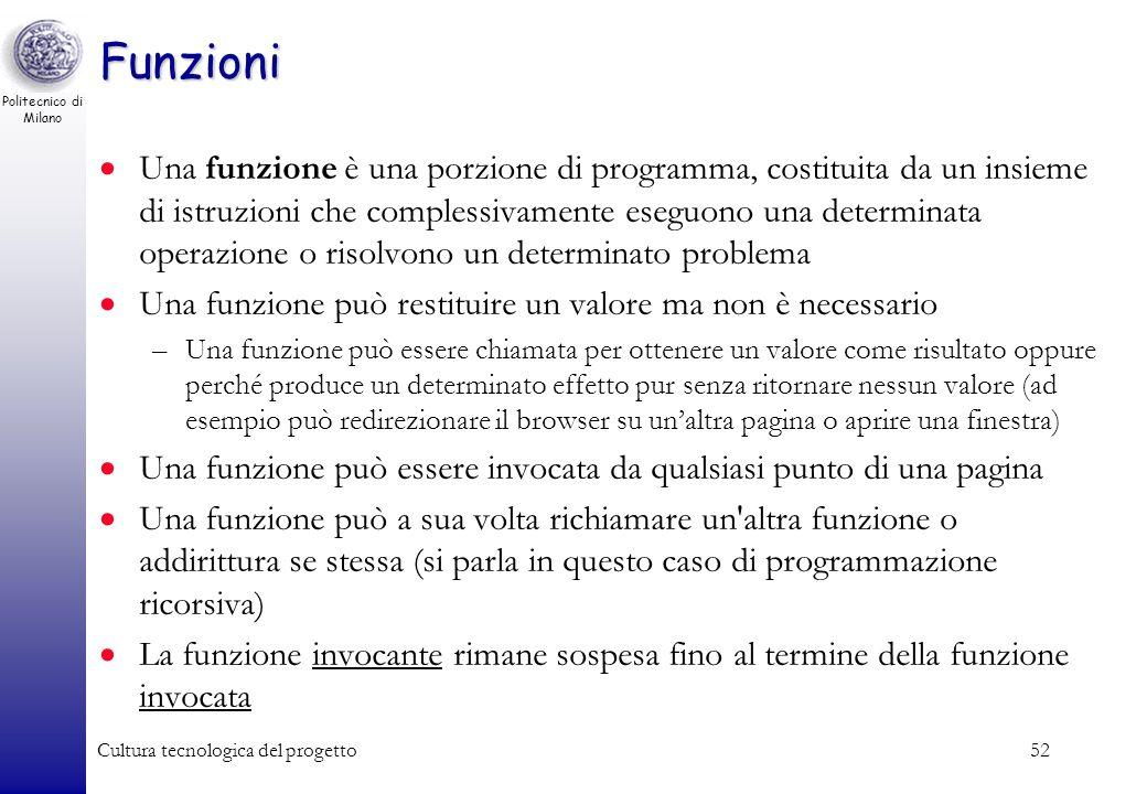 Politecnico di Milano Cultura tecnologica del progetto52 Funzioni Una funzione è una porzione di programma, costituita da un insieme di istruzioni che