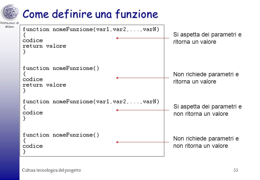 Politecnico di Milano Cultura tecnologica del progetto53 Come definire una funzione Si aspetta dei parametri e ritorna un valore Non richiede parametr