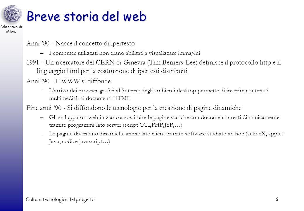 Politecnico di Milano Cultura tecnologica del progetto6 Breve storia del web Anni 80 - Nasce il concetto di ipertesto –I computer utilizzati non erano