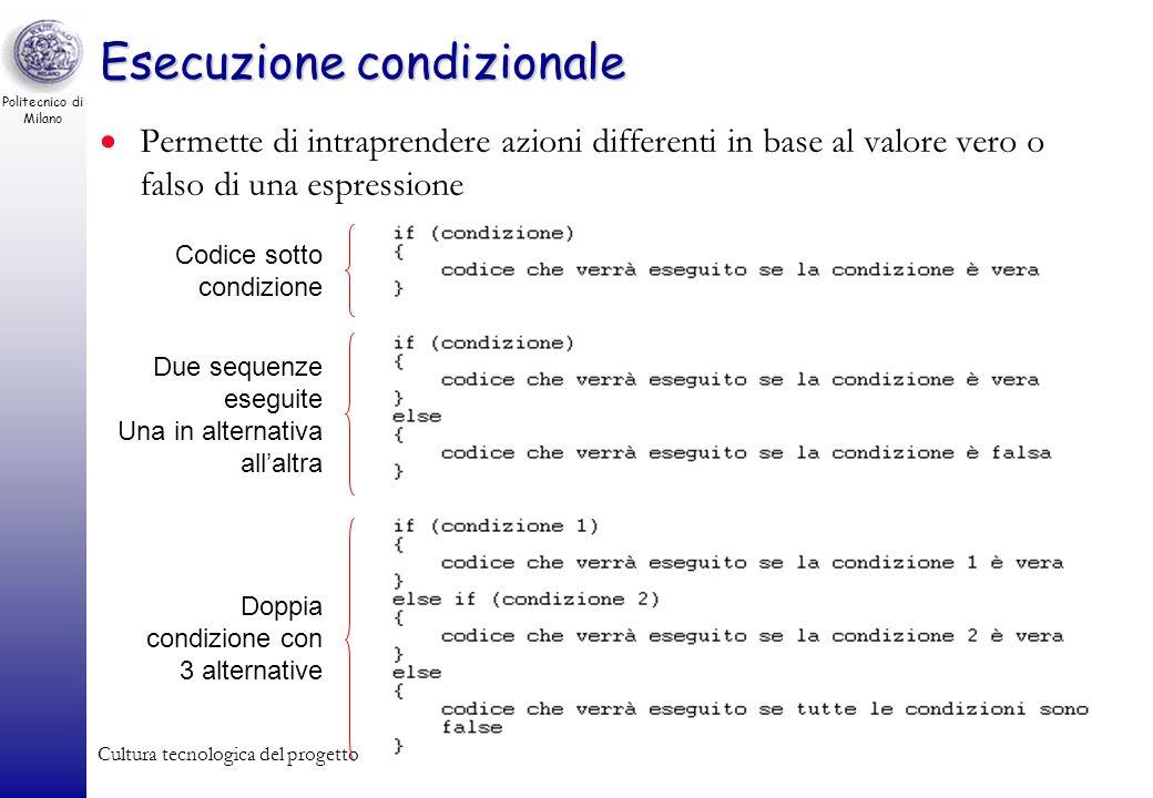 Politecnico di Milano Cultura tecnologica del progetto63 Esecuzione condizionale Permette di intraprendere azioni differenti in base al valore vero o