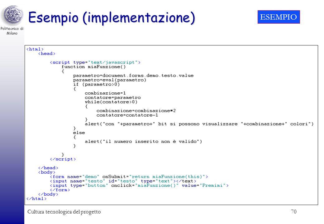 Politecnico di Milano Cultura tecnologica del progetto70 Esempio (implementazione) ESEMPIO