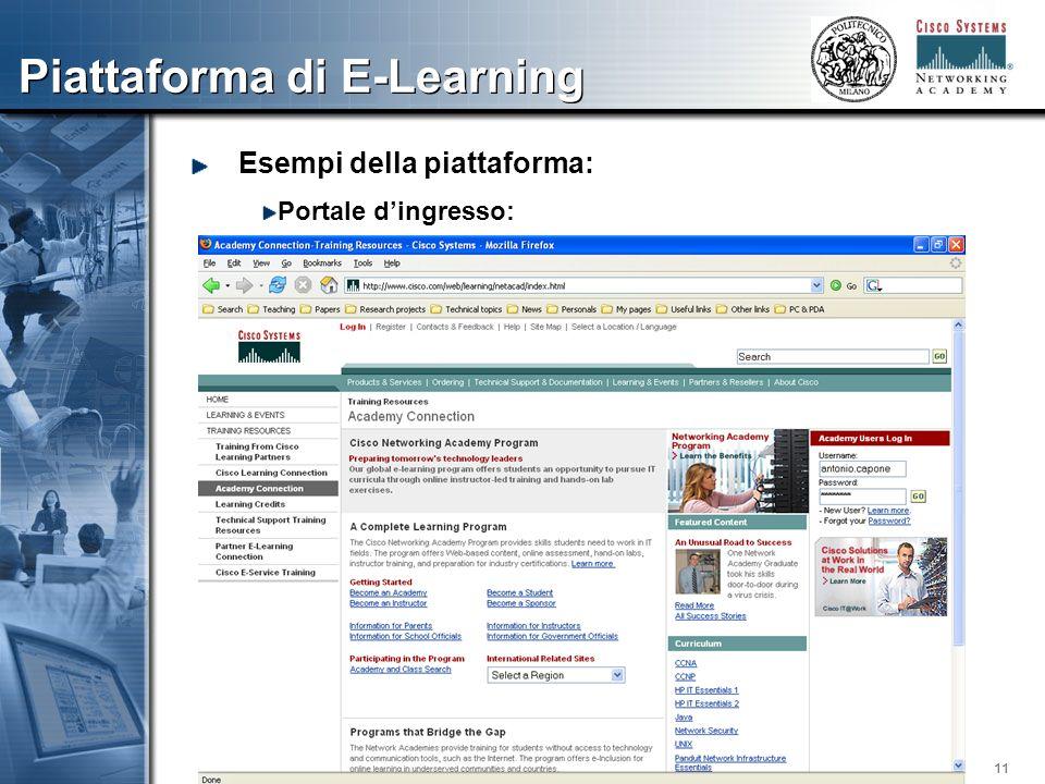 11 Piattaforma di E-Learning Esempi della piattaforma: Portale dingresso: