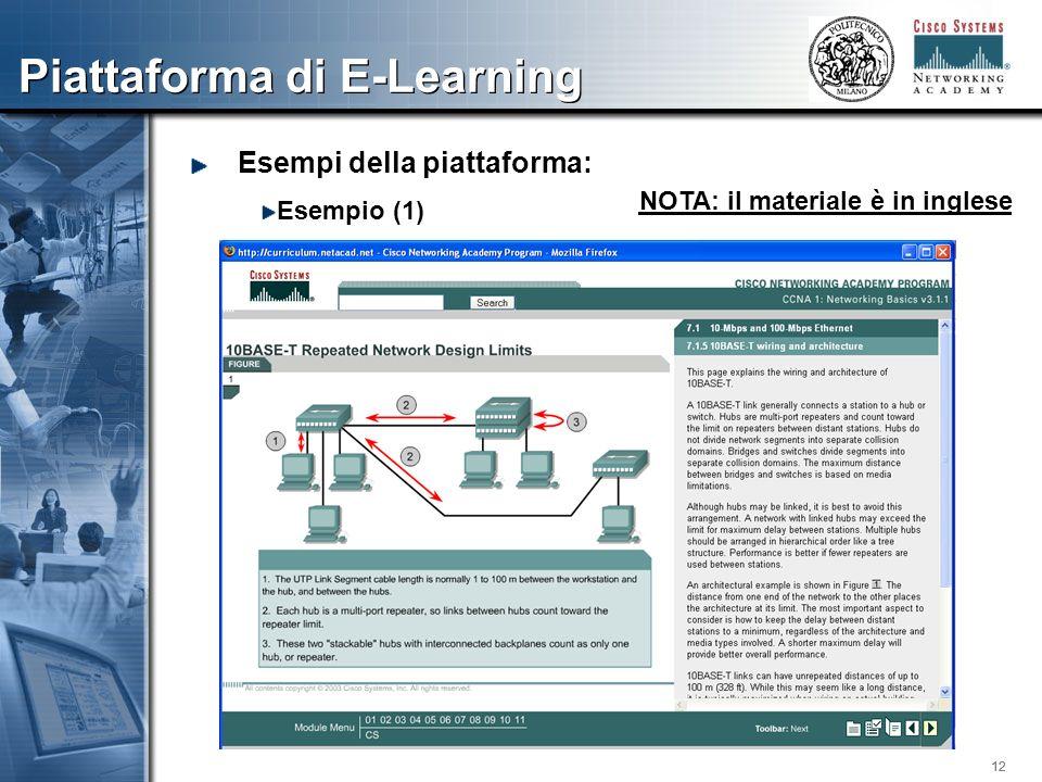 12 Piattaforma di E-Learning Esempi della piattaforma: Esempio (1) NOTA: il materiale è in inglese