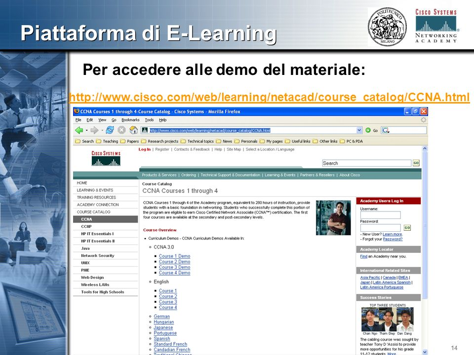 14 Piattaforma di E-Learning http://www.cisco.com/web/learning/netacad/course_catalog/CCNA.html Per accedere alle demo del materiale: