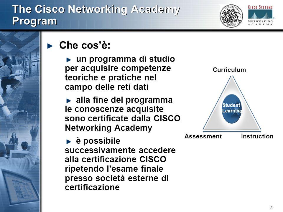 333 CISCO Academy Program Alla fine del programma si è in grado di progettare ed implemetare una rete basata su tecnologia IP (dal cablaggio alla configurazione degli apparati)
