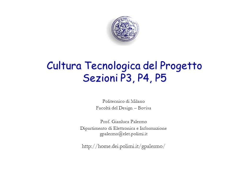 Cultura Tecnologica del Progetto Sezioni P3, P4, P5 Politecnico di Milano Facoltà del Design – Bovisa Prof. Gianluca Palermo Dipartimento di Elettroni