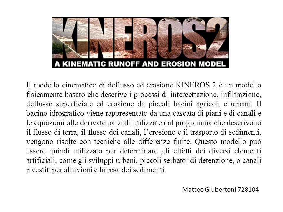 Il modello cinematico di deflusso ed erosione KINEROS 2 è un modello fisicamente basato che descrive i processi di intercettazione, infiltrazione, def