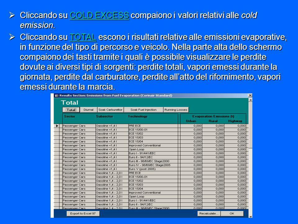 Cliccando su COLD EXCESS compaiono i valori relativi alle cold emission. Cliccando su COLD EXCESS compaiono i valori relativi alle cold emission. Clic