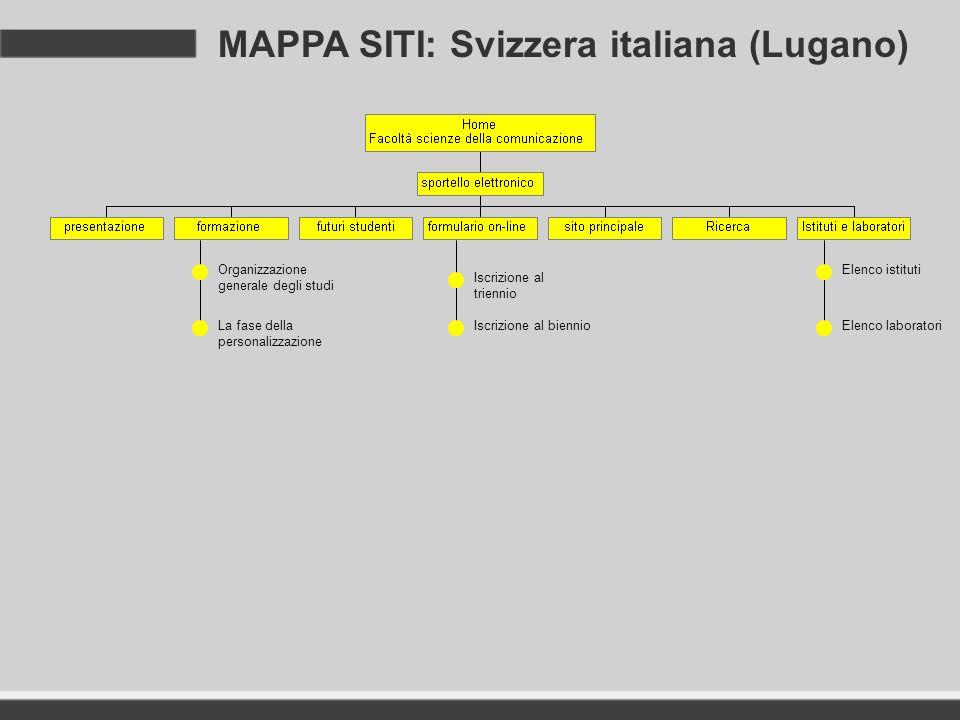 MAPPA SITI: Svizzera italiana (Lugano) Organizzazione generale degli studi La fase della personalizzazione Iscrizione al triennio Iscrizione al bienni