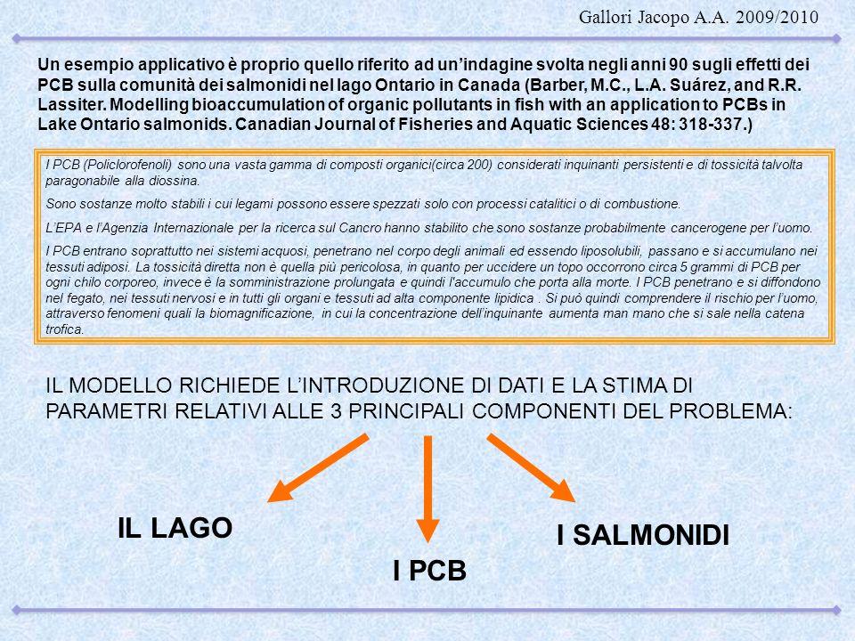 Un esempio applicativo è proprio quello riferito ad unindagine svolta negli anni 90 sugli effetti dei PCB sulla comunità dei salmonidi nel lago Ontari