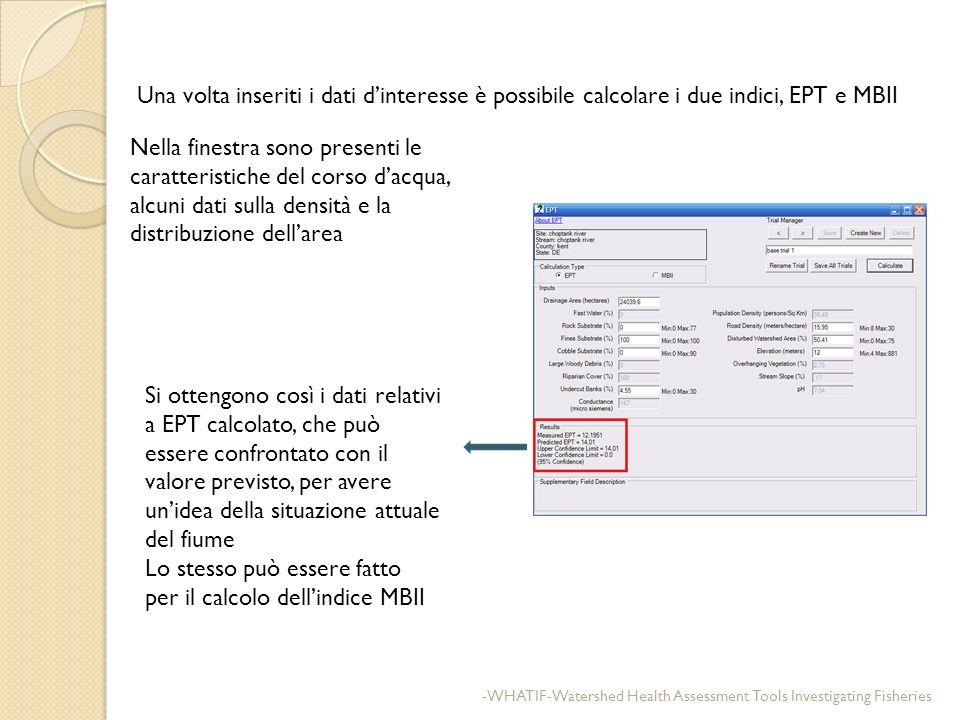 Una volta inseriti i dati dinteresse è possibile calcolare i due indici, EPT e MBII Nella finestra sono presenti le caratteristiche del corso dacqua,