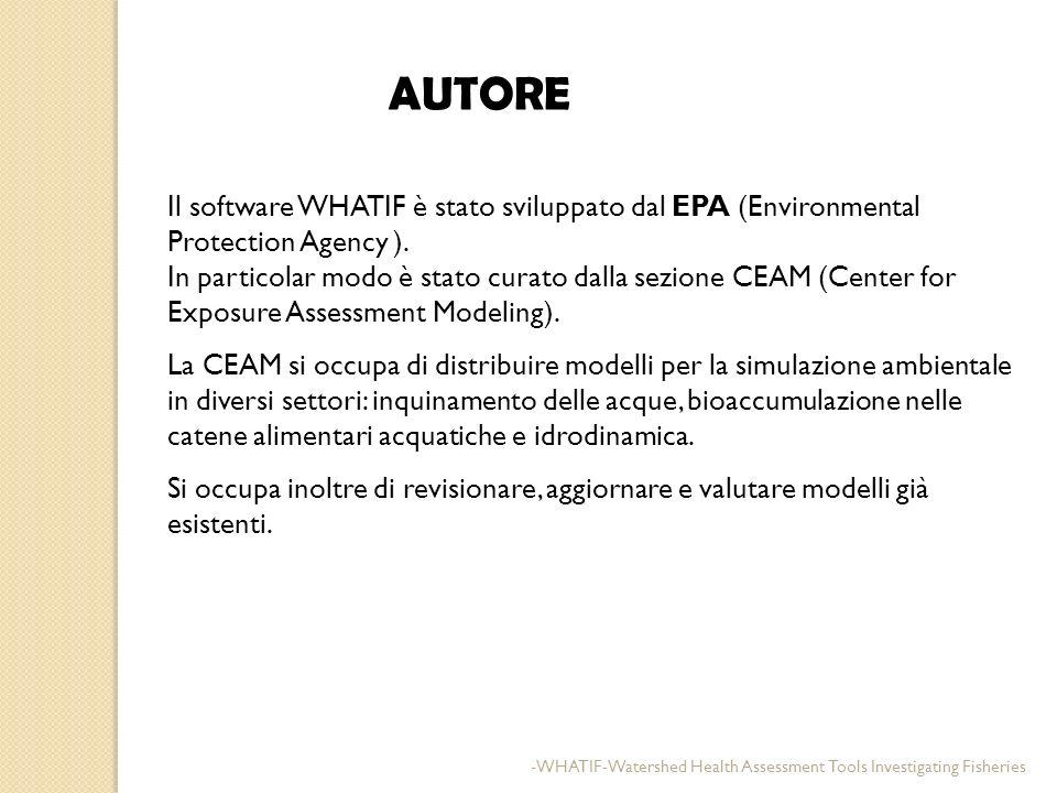 AUTORE Il software WHATIF è stato sviluppato dal EPA (Environmental Protection Agency ). In particolar modo è stato curato dalla sezione CEAM (Center