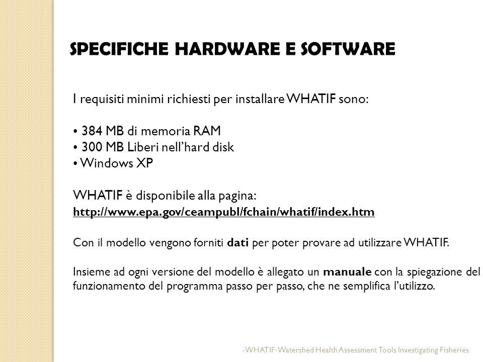 SPECIFICHE HARDWARE E SOFTWARE I requisiti minimi richiesti per installare WHATIF sono: 384 MB di memoria RAM 300 MB Liberi nellhard disk Windows XP W