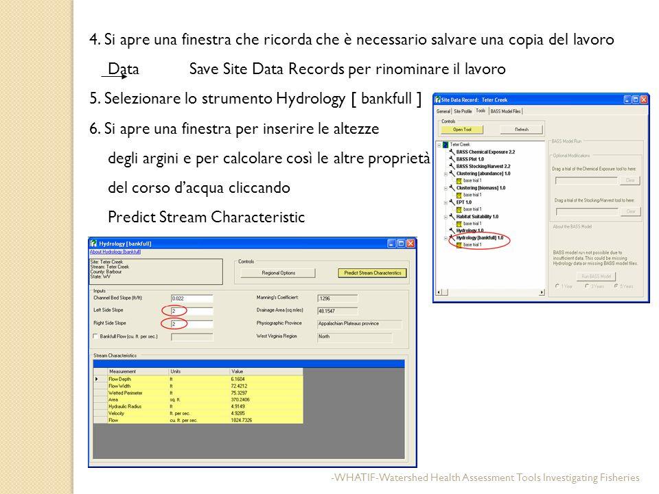 4. Si apre una finestra che ricorda che è necessario salvare una copia del lavoro Data Save Site Data Records per rinominare il lavoro 5. Selezionare