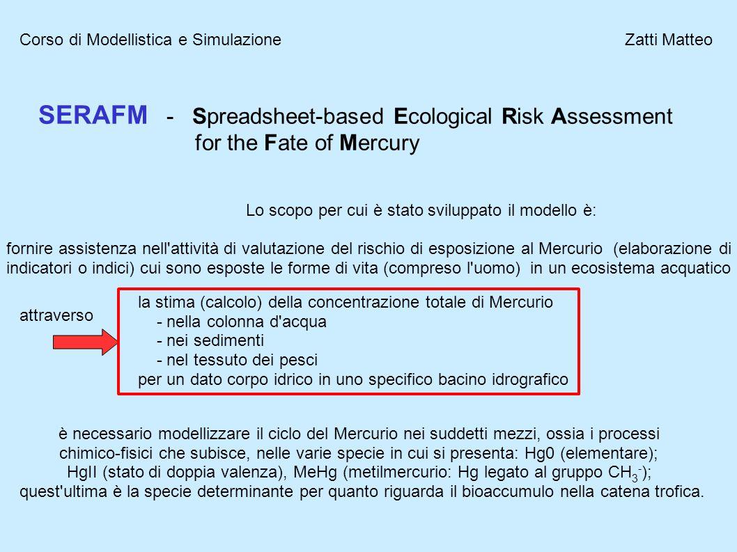 Corso di Modellistica e Simulazione Zatti Matteo SERAFM - Spreadsheet-based Ecological Risk Assessment for the Fate of Mercury Lo scopo per cui è stat