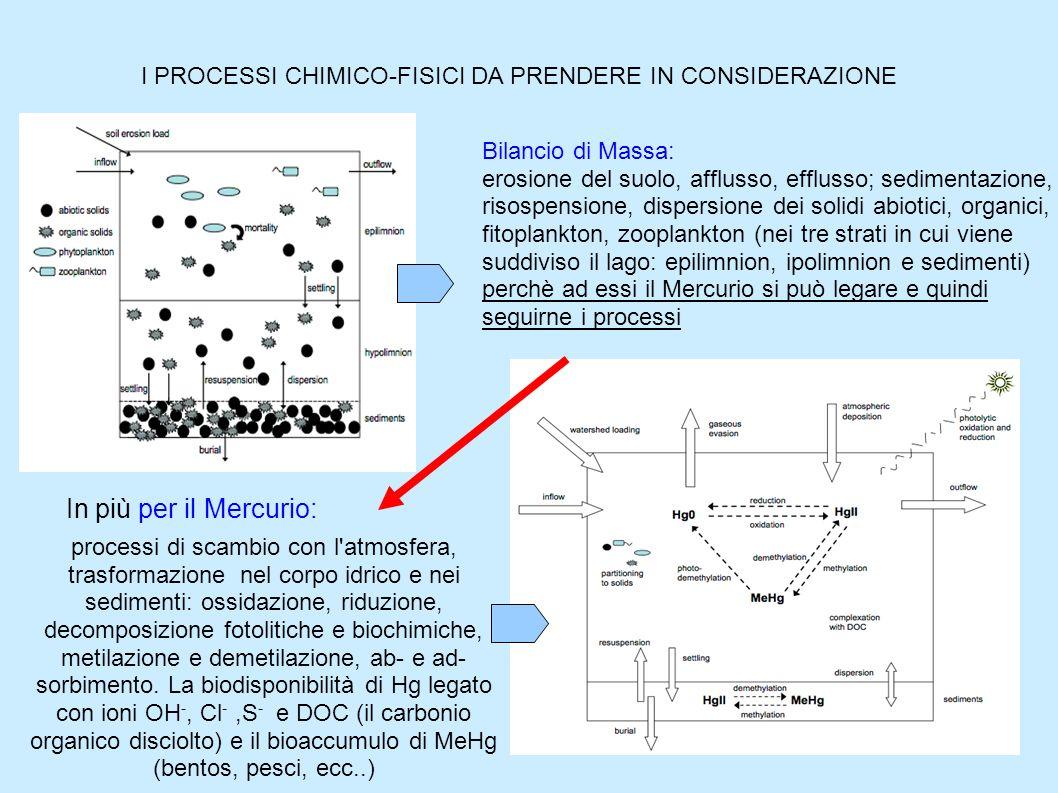 I PROCESSI CHIMICO-FISICI DA PRENDERE IN CONSIDERAZIONE Bilancio di Massa: erosione del suolo, afflusso, efflusso; sedimentazione, risospensione, disp